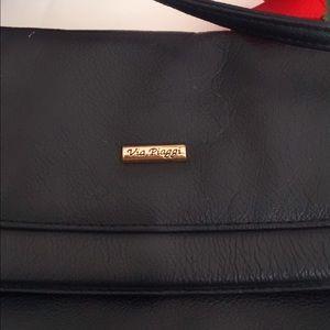 via piaggi Bags - Via Piaggi Black Leather Crossbody Shoulder Bag